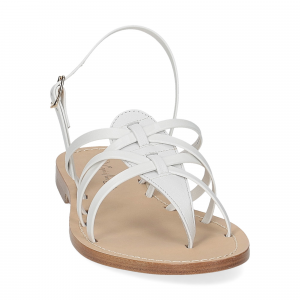 De Capri a Paris sandalo infradito pelle bianca-3