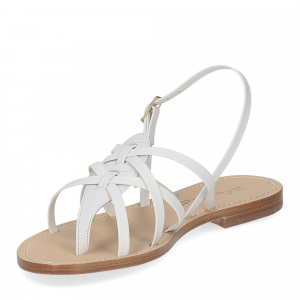 De Capri a Paris sandalo infradito pelle bianca-4