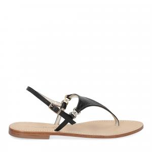 De Capri a Paris sandalo infradito triangolo pelle nero-2