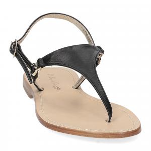 De Capri a Paris sandalo infradito triangolo pelle nero-3