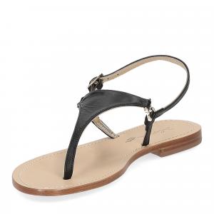De Capri a Paris sandalo infradito triangolo pelle nero-4