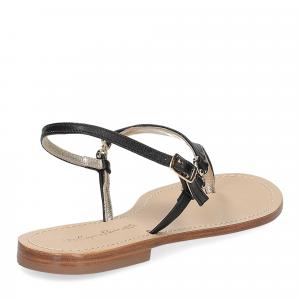 De Capri a Paris sandalo infradito triangolo pelle nero-5