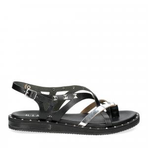Il Laccio Sandalo infradito in pelle nera e argento con borchie-2