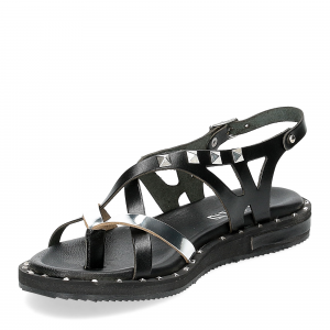 Il Laccio Sandalo infradito in pelle nera e argento con borchie-4