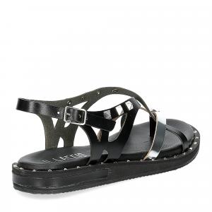Il Laccio Sandalo infradito in pelle nera e argento con borchie-5