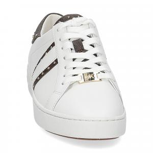 Michael KorsKeaton stripe optic white leather brown-2