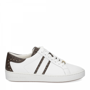 Michael KorsKeaton stripe optic white leather brown-3