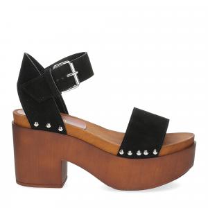 Il Laccio Sandalo zoccolo camoscio nero-2