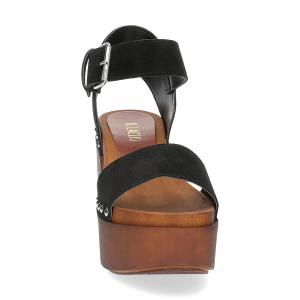 Il Laccio Sandalo zoccolo camoscio nero-3