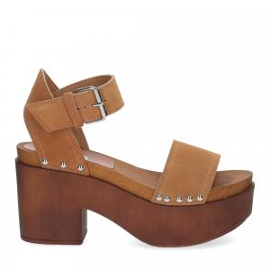 Il Laccio Sandalo zoccolo camoscio cuoio-3