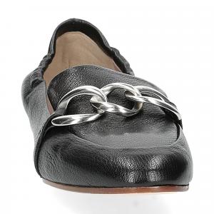 Il Laccio mocassino pelle nera catena-2