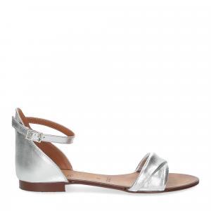 Il laccio sandalo pelle laminata argento-2