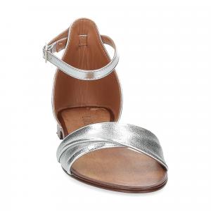 Il laccio sandalo pelle laminata argento-3