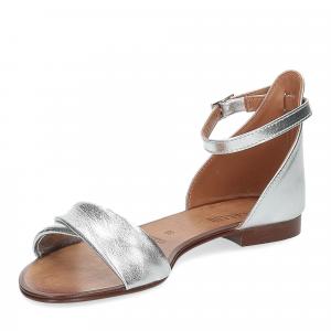 Il laccio sandalo pelle laminata argento-4