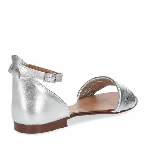 Il laccio sandalo pelle laminata argento-5