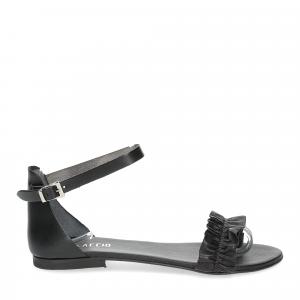 Il laccio sandalo pelle nera-2