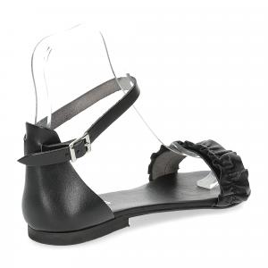 Il laccio sandalo pelle nera-5