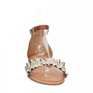 Il laccio sandalo pelle laminata platino con cinturino-3