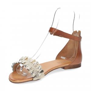 Il laccio sandalo pelle laminata platino con cinturino-4