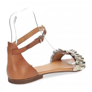 Il laccio sandalo pelle laminata platino con cinturino-5