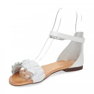 Il laccio sandalo pelle bianca-4