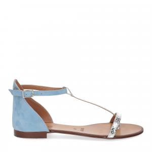 Il laccio sandalo infradito camoscio azzurro-1