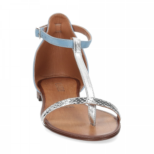 Il laccio sandalo infradito camoscio azzurro-3
