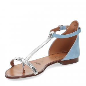 Il laccio sandalo infradito camoscio azzurro-4