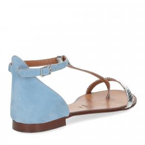 Il laccio sandalo infradito camoscio azzurro-5