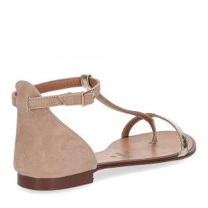 Il laccio sandalo infradito camoscio taupe-5