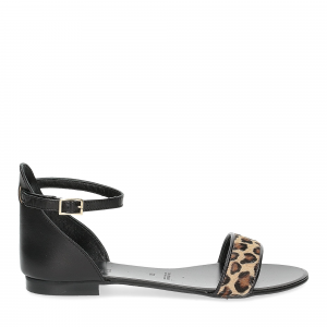 Il laccio sandalo pelle nera cavallino-2