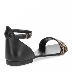 Il laccio sandalo pelle nera cavallino-5
