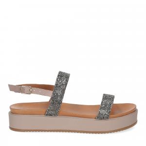 Il Laccio sandalo pelle grigia con pietre-2