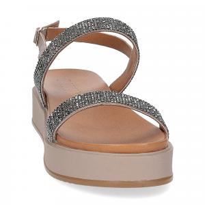 Il Laccio sandalo pelle grigia con pietre-3
