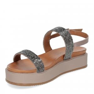 Il Laccio sandalo pelle grigia con pietre-4
