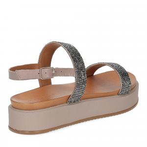 Il Laccio sandalo pelle grigia con pietre-5