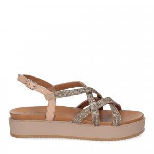 Il Laccio sandalo pelle taupe con pietre-2
