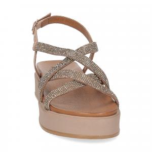 Il Laccio sandalo pelle taupe con pietre-3