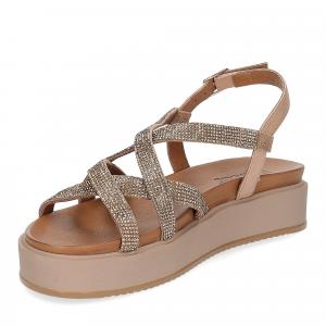 Il Laccio sandalo pelle taupe con pietre-4