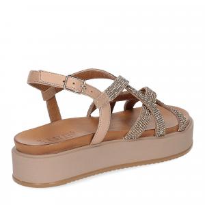 Il Laccio sandalo pelle taupe con pietre-5