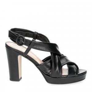 Il Laccio sandalo pelle tubolare nera-1