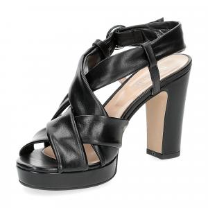 Il Laccio sandalo pelle tubolare nera-4