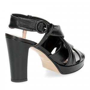 Il Laccio sandalo pelle tubolare nera-5