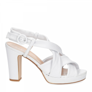 Il Laccio sandalo pelle bianca 9cm-3