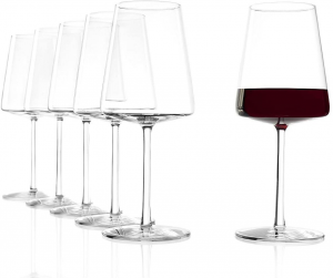 Set di 6 calici da vino rosso Power 520 ml, in cristallo senza piombo cm.22,6h diam.9