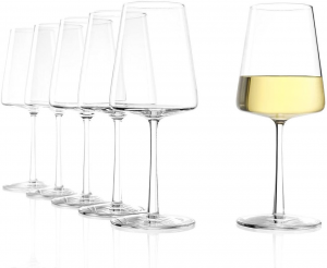 Set di 6 calici da vino bianco Power 400 ml, in cristallo senza piombo cm.21h diam.8,5