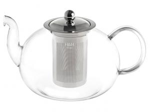 Teiera in vetro trasparente con filtro