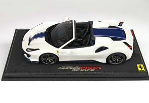 Ferrari 488 Pista Spider White With Blue Stripe 1/18