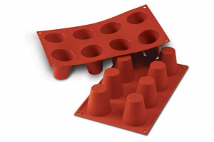 Stampo in silicone rosso big Babà cm.30x17,5x6h
