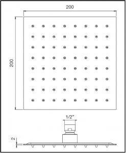 Soffione doccia quadrato 200x200
